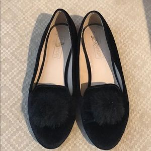 Topshop Shoes - Topshop velour flats with pompom